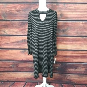 Studio One Dress Black Striped Knit 3X